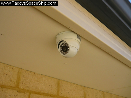 A picture of the CCTV camera reattached to the eave